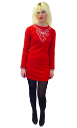 1965 Retro Sixties Mod Shift Dress in Red