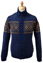 BEN SHERMAN RETRO MOD CHRISTMAS FAIRISLE CARDIGAN