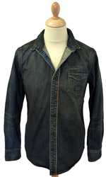 BEN SHERMAN DENIM SHIRT RETRO SHIRT MENS MOD SHIRT