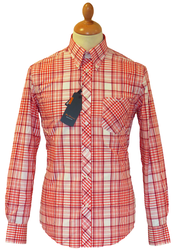 BEN SHERMAN RETRO MOD SIXTIES CHECK SHIRT CRIMSON