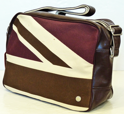 BEN SHERMAN UNION JACK FLIGHT BAG BROWN RETRO MOD