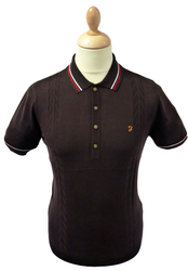 FARAH VINTAGE KNITTED RETRO POLO MOD INDIE POLOS