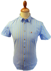 FARAH VINTAGE MENS RETRO MILNER CANDY STRIPE SHIRT