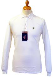 GABICCI VINTAGE RETRO MOD LONG SLEEVE POLO SIXTIES