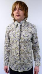 GIBSON LONDON MOD SHIRT LIBERTY PRINT SHIRT RETRO