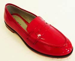 LACEYS RETRO WOMENS LOAFERS HOLGA RED PATENT SHOES