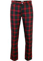MADCAP ENGLAND RETRO MOD 60s TARTAN TROUSERS RED