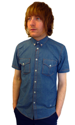 MERC RETRO MOD MENS DENIM SHIRT ELMO SHIRT MODS