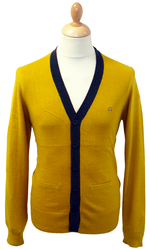 MERC RETRO TIPPED CARDIGAN RETRO MOD SIXTIES CARDY