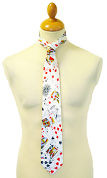 RETRO PLAYING CARD POKER JOKER TIE RETRO 80s MOD