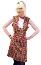 Retro Mod Paisley Ruffle Dress (Red)