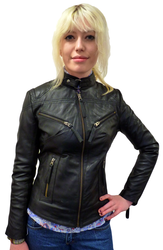 WOMENS RETRO LEATHER BIKER JACKET RACER JACKET