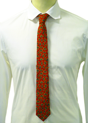 Small Red Paisley ATKINSONS Retro Mod Poplin Tie