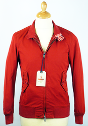 BARACUTA G9 Garment Dyed Harrington Jacket (Red)