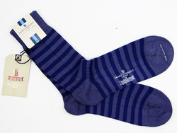 + BARACUTA Made In England Retro Stripe Socks Avio
