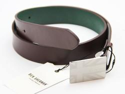 BEN SHERMAN Retro 60s Mod Union Plaque Belt BROWN