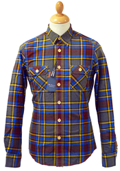 BEN SHERMAN Retro Indie Mod Pocket Check Shirt