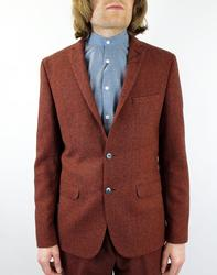 BEN SHERMAN Retro Mod Herringbone 2 Button Blazer