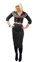 Ashley Pencil BETTIE PAGE Retro 50s Captain Dress