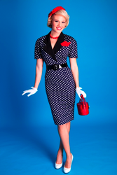 Laura BETTIE PAGE Retro 60s Polkadot Pencil Dress