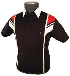 GABICCI VINTAGE Mod Shoulder Stripe Polo (Black)