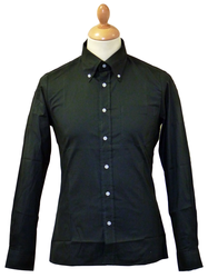 Solid Black BRUTUS TRIMFIT Mens Retro Mod Shirt