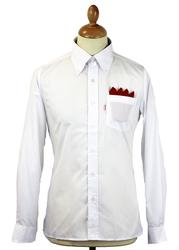 BRUTUS TRIMFIT Mod Solid White Red Label L/S Shirt