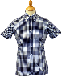 Navy Gingham BRUTUS TRIMFIT Mens Retro Mod Shirt