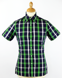 BRUTUS TRIMFIT Navy/Green/White Mod Check Shirt