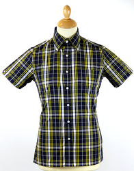BRUTUS TRIMFIT Navy/Yellow/White Mod Check Shirt
