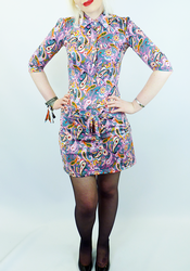 Grey Paisley CHENASKI Retro Seventies Mod Dress