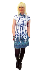 Indian Paisley CHENASKI Retro Seventies Mod Dress