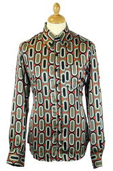 Ovals CHENASKI Retro 70s Big Collar Disco Shirt
