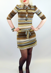 Zig Zag CHENASKI Retro Seventies Mod Dress (Brown)