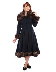New in - Pearl COLLECTIF Vintage 50s Faux Fur Coat In Navy