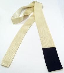 'Blocked' - Retro Sixties Mod Mens Tie (Ecru/Blk)