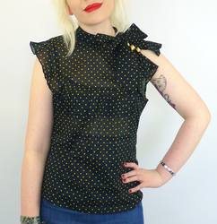 Curly DAINTY JUNE Retro Vintage Bow Collar Top
