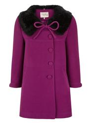 Vanessa DARLING Retro 60s Faux Fur Collar Bow Coat