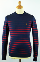 FARAH VINTAGE JEFFERSON BRETON SWEATER JUMPER NAVY