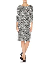 Albers FEVER Geometric Print Pencil Dress (BW)