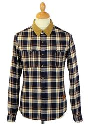 Heathwood FLY53 Retro Mod Cord Collar Check Shirt