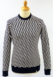 Dax FLY53 60s Mod Geometric Retro Knit Jumper (M)