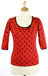 Spotty Top FRIDAY ON MY MIND Retro 60s Top (R)