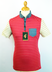 Metz GABICCI VINTAGE Retro Mod Stripe Polo Top C