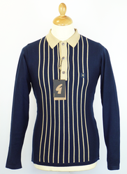 Wood GABICCI VINTAGE Retro Mod Stripe Knit Polo