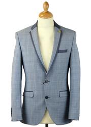 GIBSON LONDON Retro Mod POW Check Suit in Blue