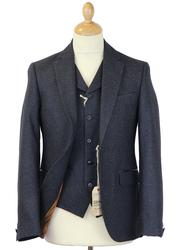 GIBSON LONDON Retro Mod Navy Donegal Suit