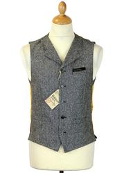 GIBSON LONDON Retro Mod Grey Donegal Waistcoat