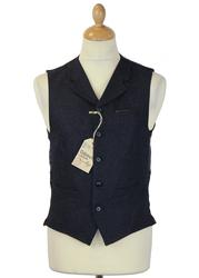 GIBSON LONDON Retro Mod Navy Donegal Waistcoat
