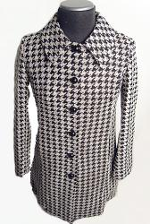 'Eliza' - Retro Sixties Chenille Houndstooth Coat